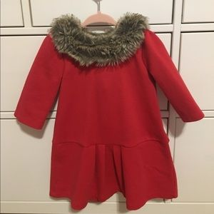 Janie and Jack Fur Collar Dress with diaper cover